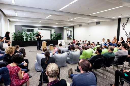 Collis speaking at the Envato